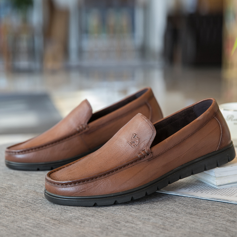 CAMEL Fashion Business Casual Summer Autumn Men Shoes Leather Genuine  Cowhide Dad Shoes Non-slip Footwear Luxury Brand