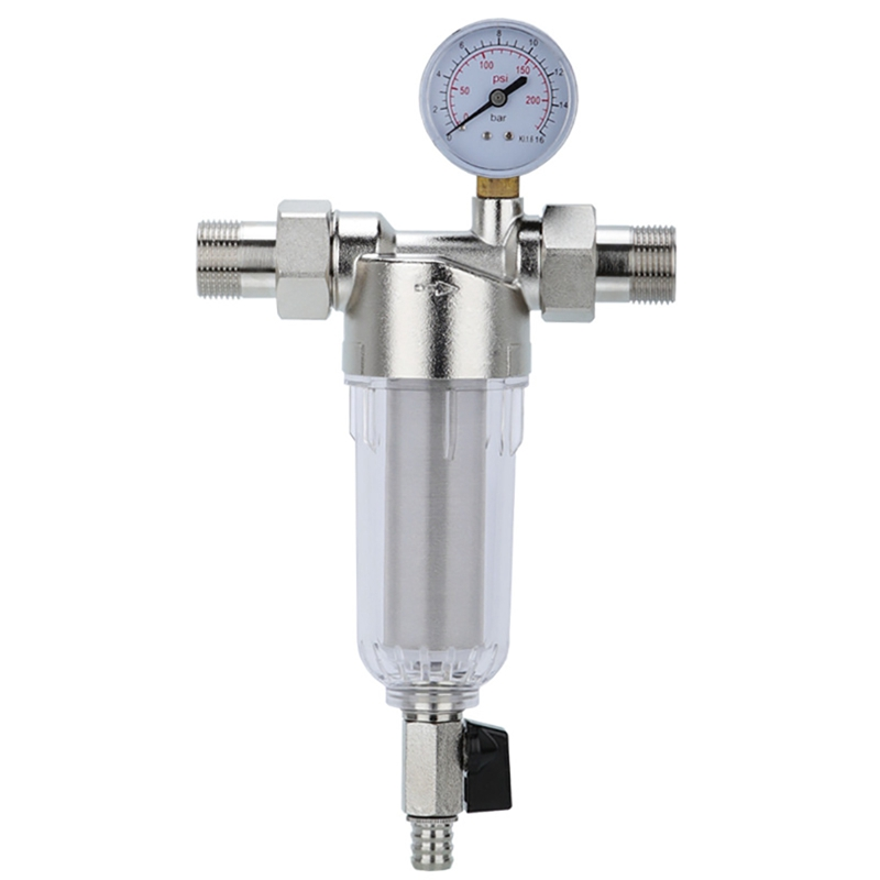 Interface Water Filter Front Filter Backwash Filter Water Purifier Pre Filter Descaling with Water Meter Household Bathroom Wate Water Filters     - title=