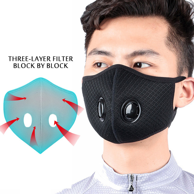 Mask Air Black Dusk Face Mask Flu P2 Mask Anti Dust Pollution Facemask PM 2.5 Respiratory Fliters Three-dimensional Mask