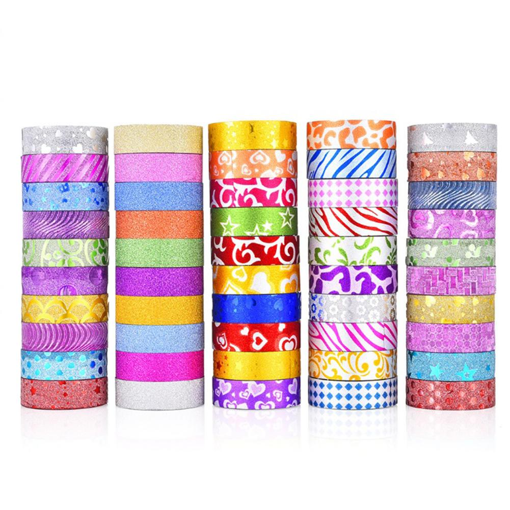 50 Rolls Glitter Washi Tape Set Washi Masking Decorative Tapes For DIY Decor Planners Scrapbooking Adhesive Party Supplies
