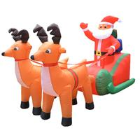 Christmas Inflatable Santa Claus Pulled by 2 Reindeer Lights Lighted Blowup Party Decor for Outdoor Indoor Home Garden Prop Yard