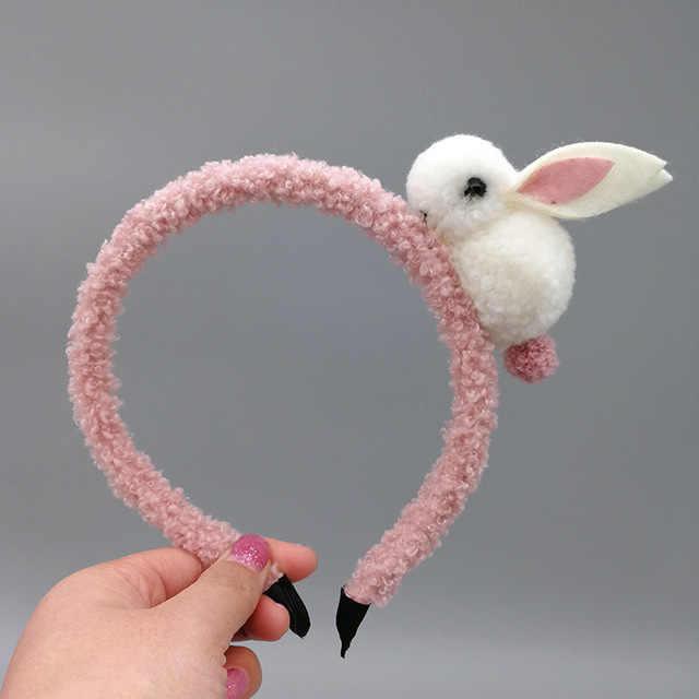 Śliczne sierść zwierzęca piłka królik z pałąkiem na głowę kobiece opaski do włosów klips do włosów koreański nakrycia głowy akcesoria do włosów dla dzieci ozdoby do nakrycia głowy