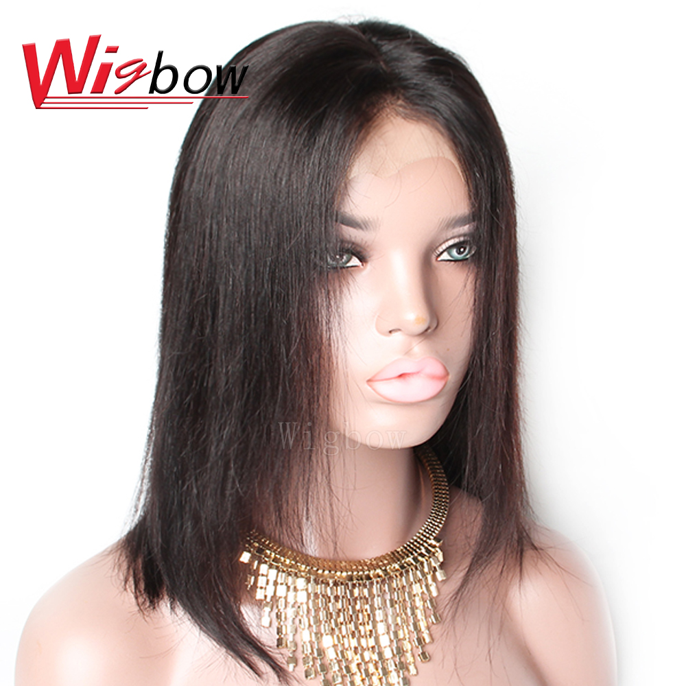 Wigbow OneCut Hair Silky Straight 13x4 Lace Front Peruvian Remy Hair Wigs With Baby Hair 150 180 Destiny Natural Color Free Ship