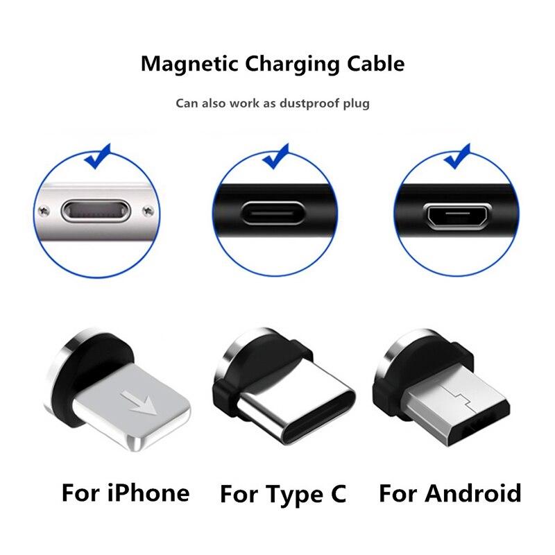 Cabo magnético usb tipo-c, tomada micro, carregamento rápido, para iphone, 8 pinos, carregador de ímã, adaptador para iphone samsung huawei
