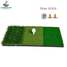 FUNGREEN Golf Schlagen Matte 3 Gräser mit Gummi Tee-Halter Golf Training Aids Indoor Outdoor Tri-Rasen Golf Schlagen gras(China)