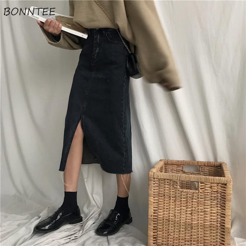 Skirts Women Trendy Temperament All-match Split Zipper Denim Womens Mid-Calf Soft Solid Pockets Stylish Ladies A-Line Daily Slim