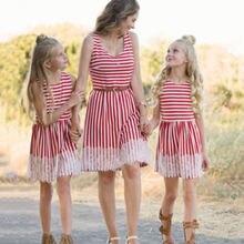 Платье без рукавов в полоску для мамы и дочки летние одинаковые