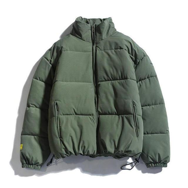 2021 Winter Coat Men's Warm Parkas Streetwear Cotton Coats Slim Male Jackets Solid Windproof Padded Coat Mens Clothing 2