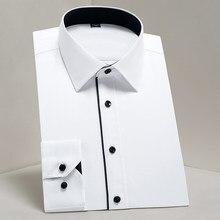 Uomo Classic Design di Base Manica Lunga Formale Camicette Bianco Business Standard-fit Twill di Facile manutenzione Maschio Sociali ufficio Camicia di Vestito