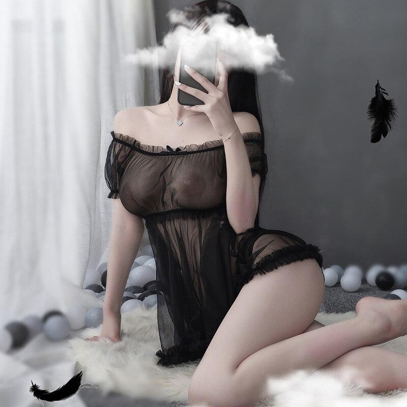 Сексуальное нижнее белье сетки перспектива искушение сексуальные кружева пузырь рукав Pengpeng ночная рубашка костюм