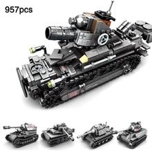 4IN1 Compatible LegoINGlys WW2 Tank Truck World War 2 Military Mini German Figures Army Building Blocks Bricks Kids Toys Gift