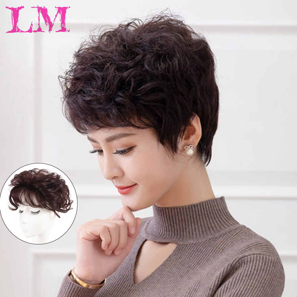 LM 100%Human Hair Wig Thin Skin Natural Hair Party Top HairPiece Women Curly Hair Replacement Wigs Clip Hair Wig Extension
