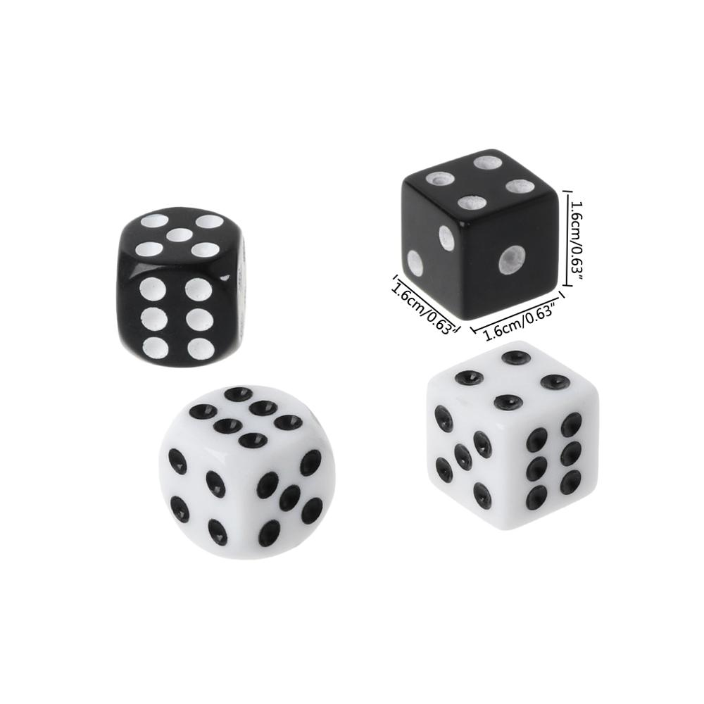 10pcs 16mm Acrylic Dice Black/White 6 Sided Casino Poker Game Bar Party Dice