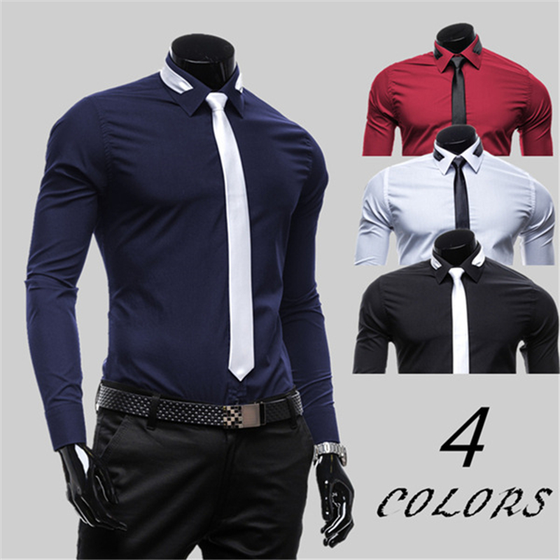 2019 New Fashion Formal Solid Shirt Men Long Sleeve Regular Fit Bussiness Men's Shirt With Tie Lapel Male Social Dress Shirts