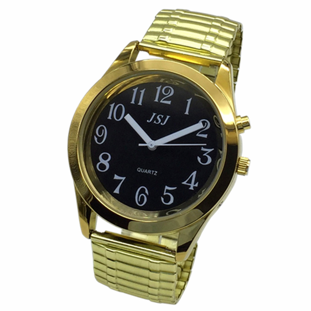 French Talking Watch With Alarm, Talking Date And Time, Black Dial, Expanding Bracelet TAF-802