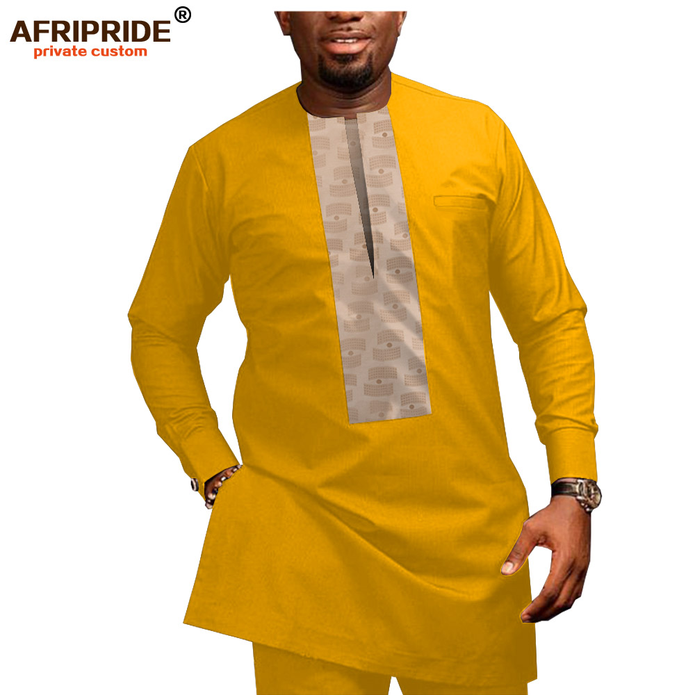 2019 African Men Clothing Casual Tracksuit Dashiki Shirt Blouse+Ankara Pants 2 Piece Set Plus Size Tracksuit AFRIPRIDE A1916026