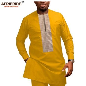 2019 African Men Clothing Casual Tracksuit Dashiki Shirt Blouse+Ankara Pants 2 Piece Set Plus Size AFRIPRIDE A1916026