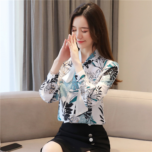 Blusas Mujer De Moda 2021 Ladies Tops Chiffon Blouses Shirts Long Sleeve Button Floral Bow Blouse For Women Clothing 6002 50 6