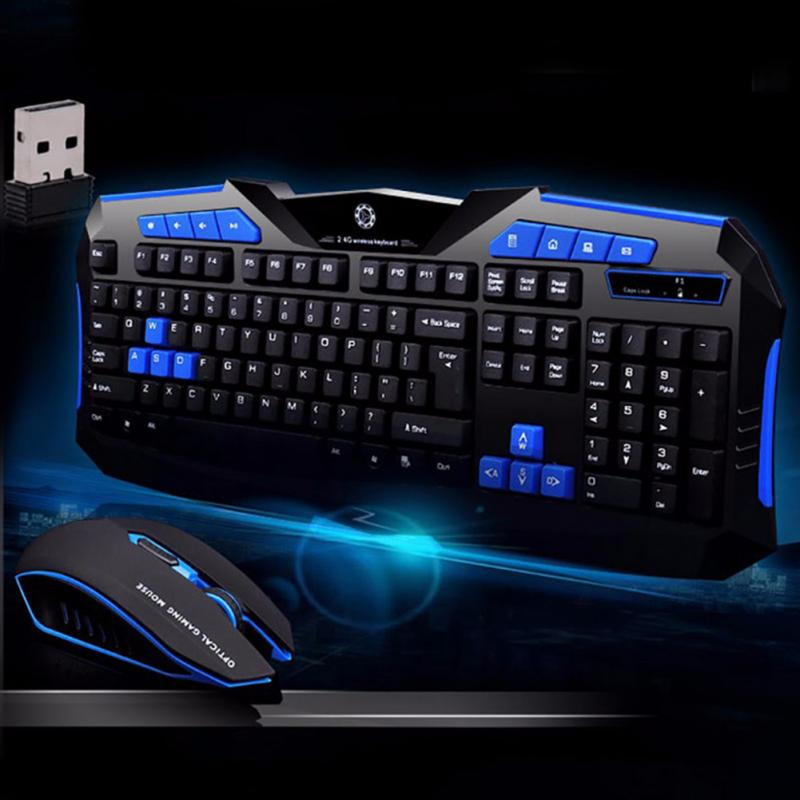 F1 <font><b>Wireless</b></font> <font><b>Gaming</b></font> <font><b>Keyboard</b></font> <font><b>Mouse</b></font> Suit Home Office Laptop Desktop 2400DPI Waterproof Kit Gamer with Lightweight Operate image