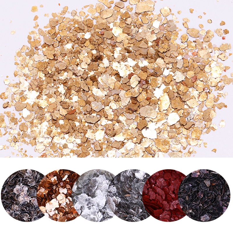 Irregular Meteorite Fragment Nail Flakies Gold Silver Red Mixed Colors Beauty Design Micas Sheets 3D Nail Art Decorations Flakes