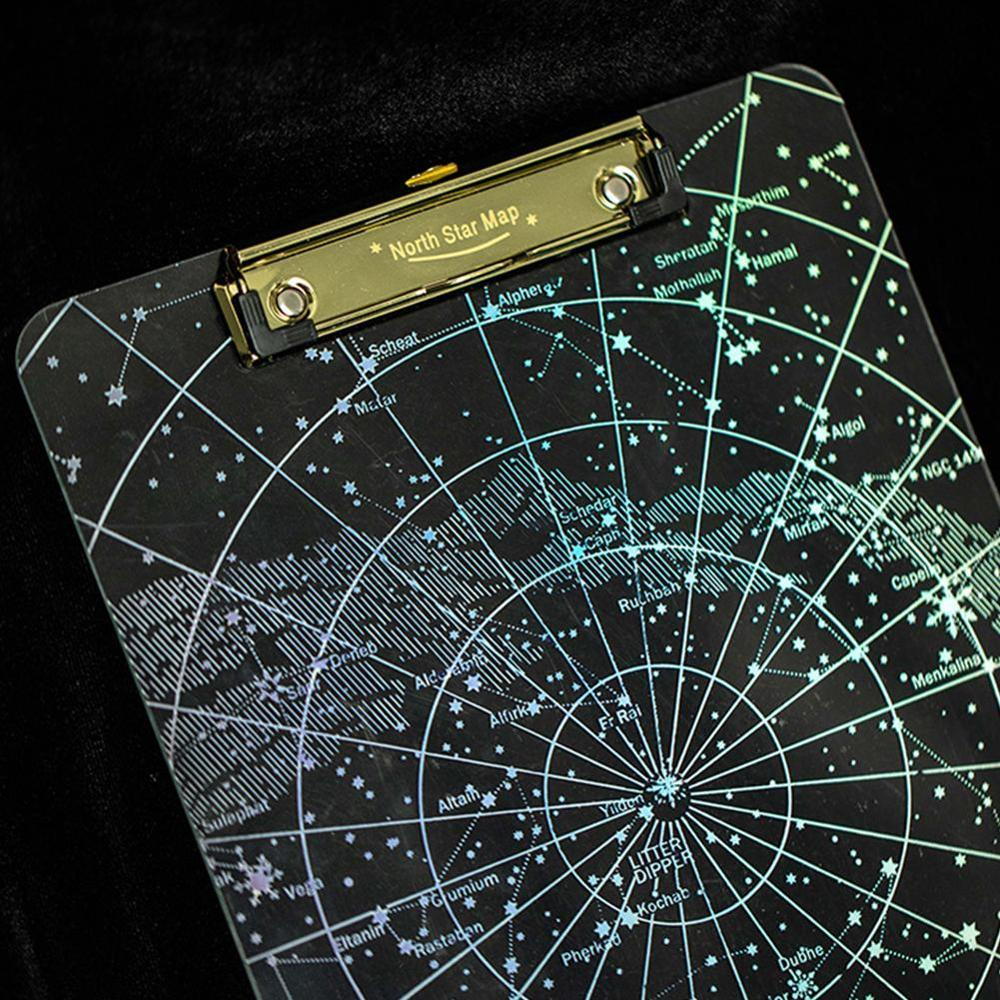 Dropshipping 1 Pc New Creative Clip Starry Sky A4 Clipboard Acrylic Folder  Supply File Office