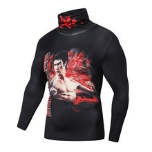 Компрессионные рубашки с высоким воротником для мужчин футболка