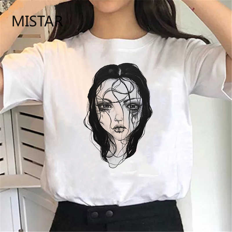 Harajuku Mode E Meisje Print Esthetische Vintage T-shirt Zomer Grafische Tees Vrouwen Brief Emo Kleding Gothic Hip Hop T shirt