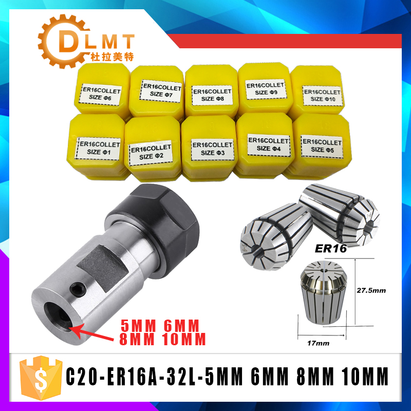 ER16Spring Collet 10PCS C20 ER16 Collet Chuck Motor Shaft Extension Rod Spindle Collet Lathe Tools Holder Inner 5MM 6MM 8MM 10MM