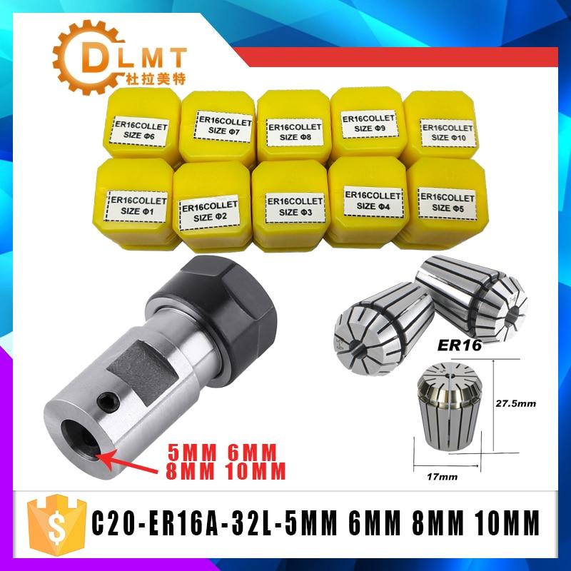 ER16Spring Collet 10PCS C20 ER16 Collet Chuck Motor Shaft Extension Rod Spindle Collet Lathe Tools Holder Inner 5MM 6MM 8MM 10MM