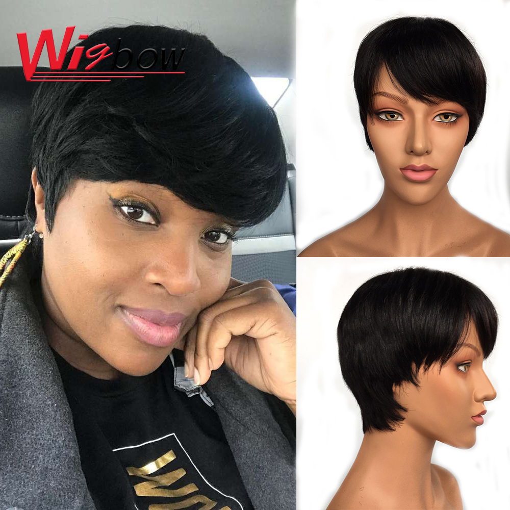 Short Wigs Straight Brazilian Human Hair Pixe Cut Cheap Wigs Machine Made Human Hair Wigs For Women With Free Shipping