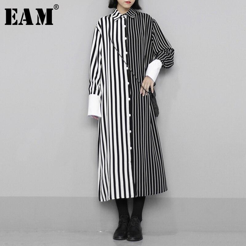 [EAM] Women Black Striped Contrast Color Long Shirt Dress New Lapel Long Sleeve Loose Fit Fashion Tide Spring Autumn 2020 1N608
