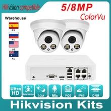 Hikvision Compatible Kits 2PCS 5MP POE IP Camera ColorVu & Hikvision 4CH POE NVR DS-7104NI-Q1/4P DIY Video Security CCTV System