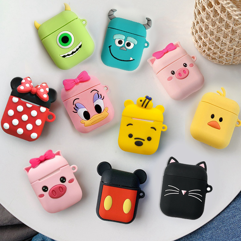 Cute For AirPods 2 Case Cartoon Silicon Protective Cover 에어팟케이스 Earphone Case For Air Pods Headphone Case Carrying Box Fundas