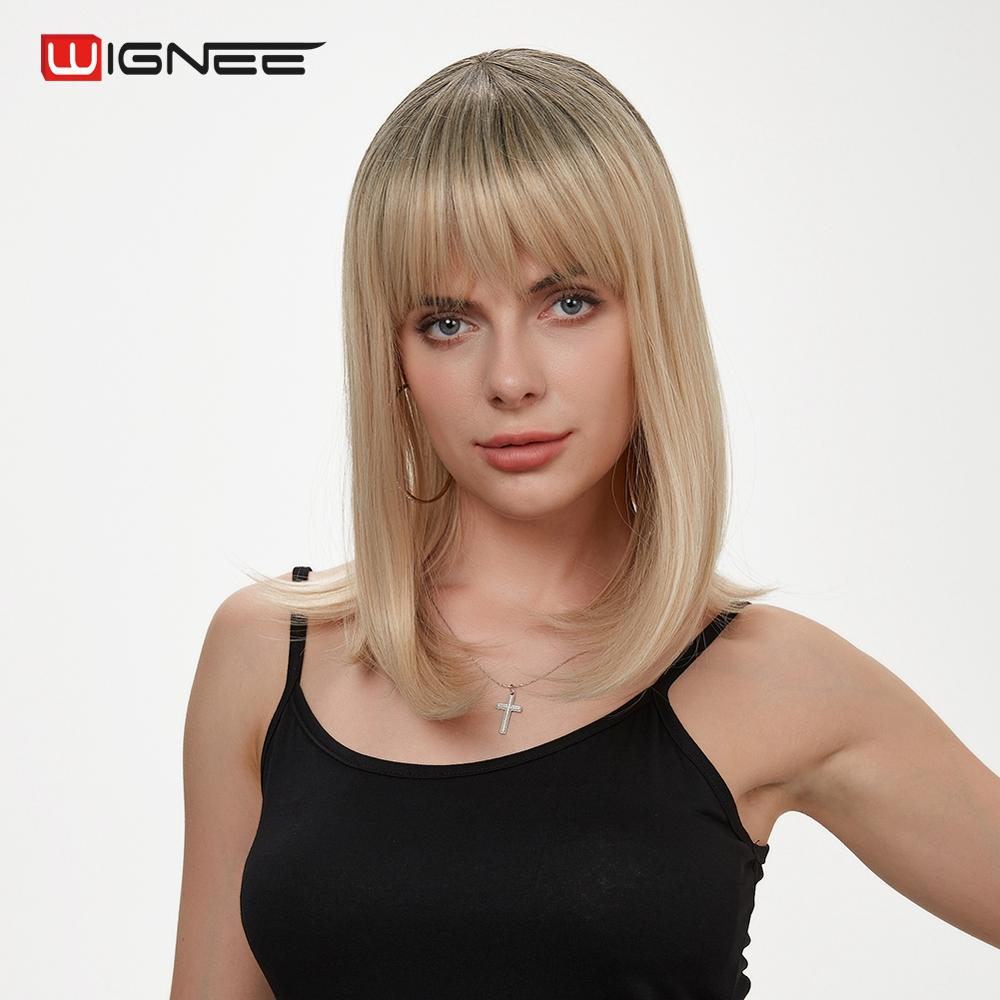 Wignee Short Straight Hair Ombre Honey Blonde & 613#Women Wigs With Bangs High Density Daily Synthetic Wigs For African American