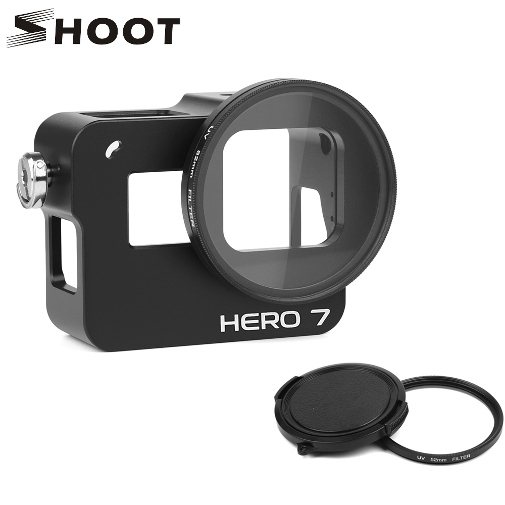 Camcorder Cases Color : Black Black Camera Products Housing Shell CNC Aluminum Alloy Protective Cage with Insurance Frame /& 52mm UV Lens for GoPro HERO7 Black //6//5