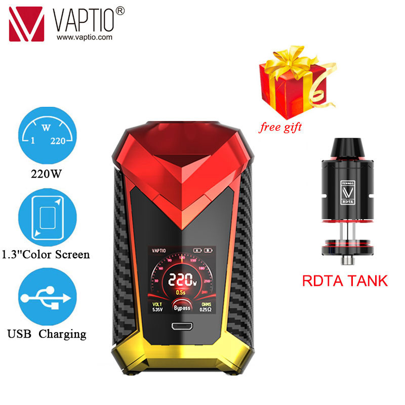 UK SHIPPING ONLY!RDTA TANK Gift Original 220W Vaptio Super Cape Kit 8ml Atomizer Electronic Cigarette Vape Kit Box Mod Vaporizer