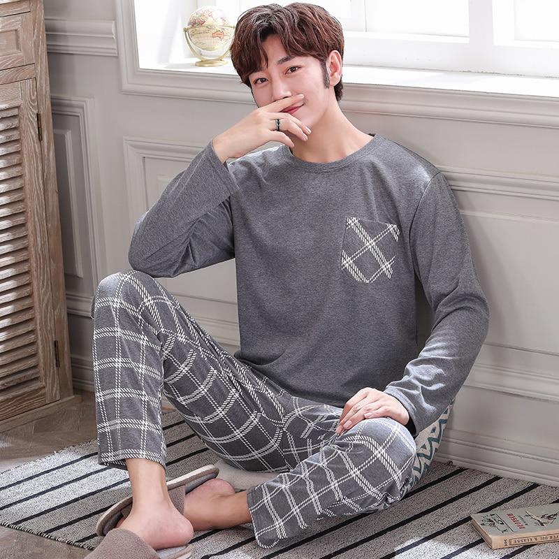 Free Shipping Winter And Autumn Mens Pyjamas 100% Cotton Pajamas Long-sleeve Casual Men Pajama Set Plus Size L-4XL Sleepwear