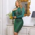 Ocstrade Neue Ankunft Mesh Langarm Verband Kleid 2021 Sommer Frauen Grün Verband Kleid Bodycon Weihnachten Abend Party Kleid