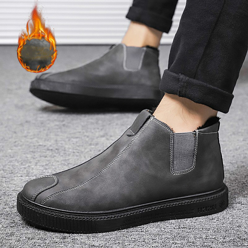 Men Sneakers Hot Sale Winter Boots Mens Leather Slip-on Waterproof Snow Boots 2019 Man Pu Designers Casual Shoes Zapatos Hombre image