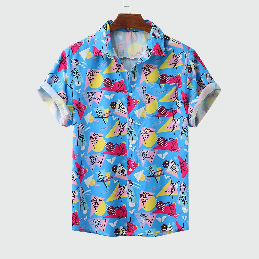 Men's Colorful Summer Short Sleeve Loose Buttons Hawaiian Casual Shirt Blouse Shirts M-3XL Camisas Para Hombre Chemise Homme  #9