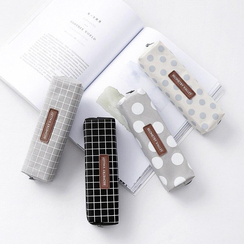 Cute Kawaii Canvas Pencil Case High Capacity Pen Bags Cute Letter Pencil Bags For Girls Gift School Supplies Korean Stationery 4