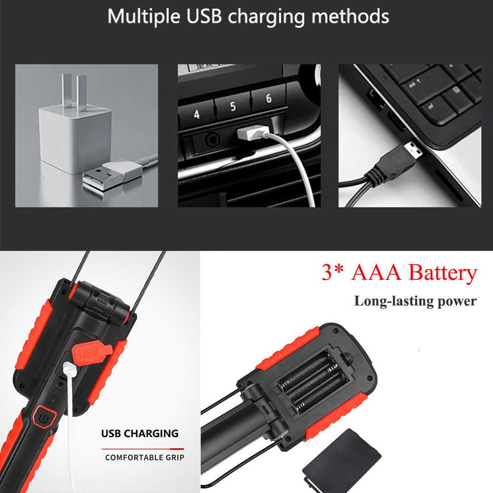 Nuevo portátil LED luz de trabajo linterna magnética USB recargable reparación Lámpara de trabajo 13 * SMD luz roja antorcha gancho colgante antorcha