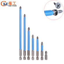 1/4. 16 Cm Shank Hex Magnetik Anti Slip Jangkauan Panjang Obeng Listrik Bit Presisi PH2 Single Phillips/Cross Kepala Power alat(China)