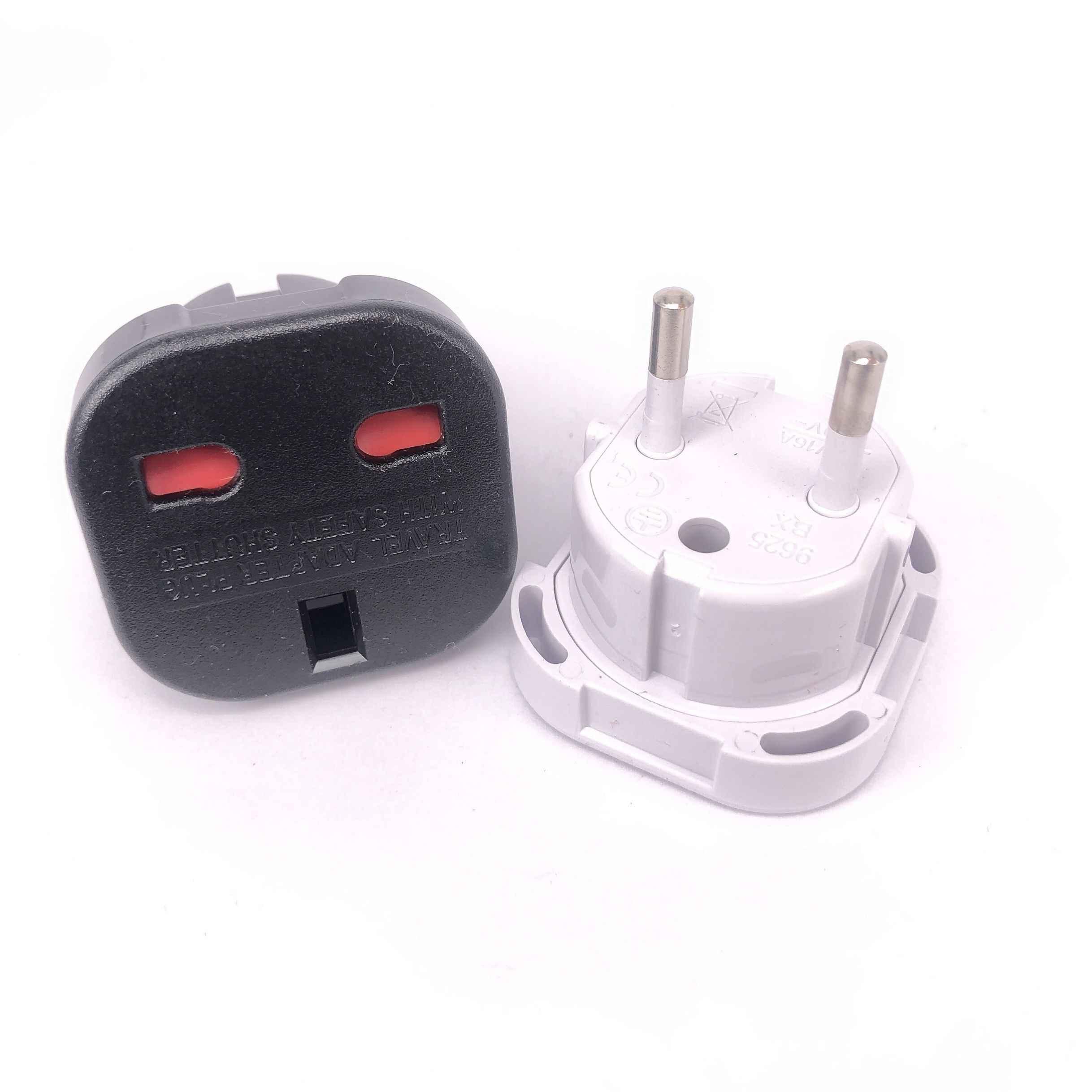 1 Stuks Nieuwe Reizen Uk Naar Eu 240V Adapters Hoge Kwaliteit Euro Plug Ac Power Charger Adapter Converter Socket zwart Mayitr