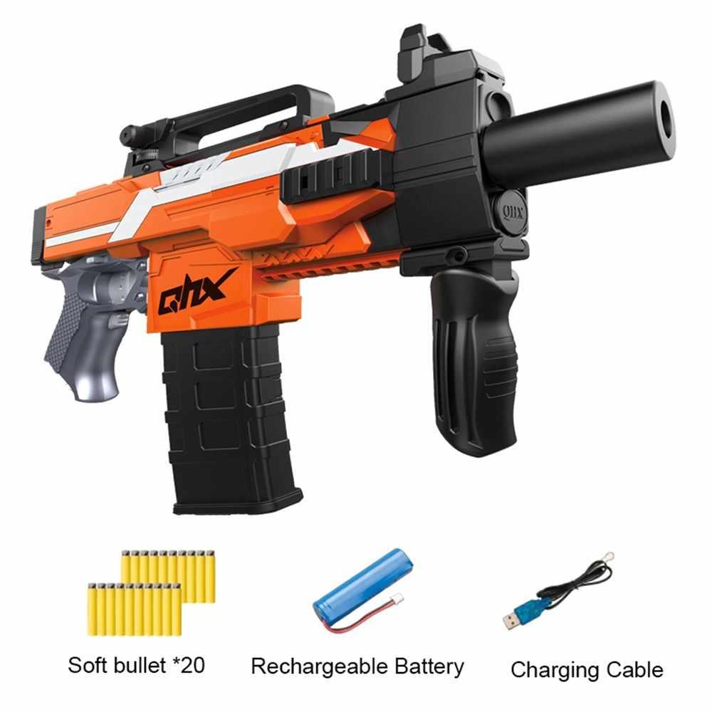 انفجار الكهربائية بندقية مسدس لعبة للأطفال بندقية دعوى ل Nerf مع 20 قطعة إيفا لينة الرصاص هدية الكريسماس للأطفال
