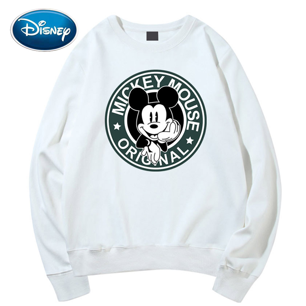 Disney Stylish Mickey Mouse Cartoon ORIGNAL Letter Print O-Neck Pullover T-Shirt Fashion Unisex Long Sleeve Loose Tops 6 Colors