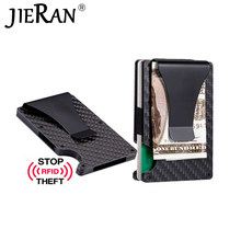 Tarjetero de fibra de carbono minimalista para hombre, tarjetero de Metal delgado con bloqueo Rfid, Clip antiprotector