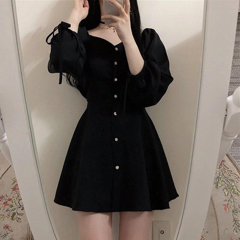 Image 2 - A Line Dresses Women Fashion Korea Japan Style Design Cute Sweet Little Back Dress Party Mini Button Vintage Dress Tunic 9310Dresses   -