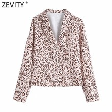 Zevity 2021 Vrouwen Vintage Luipaard Print Business Kiel Blouse Vrouwelijke Roll Up Mouw Kimono Shirts Chic Casual Blusas Tops LS7663