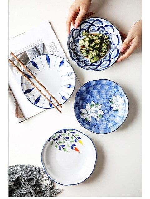Тарелка керамическая с глазурью ручная роспись в японском стиле